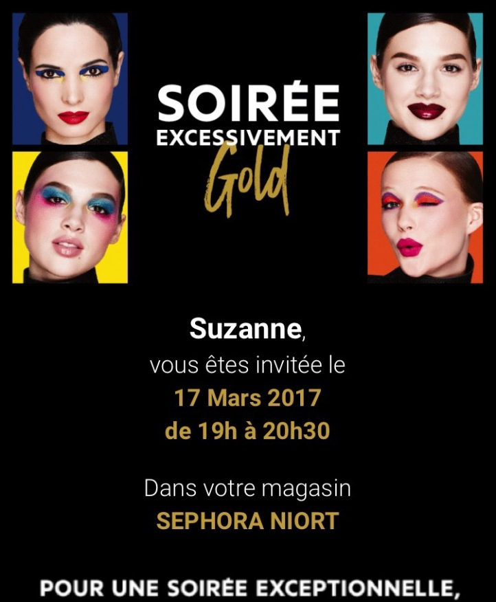 Invitation Carte Gold Sephora Magasin de Niort
